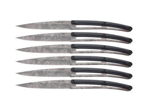 Set of 6 Deejo 'Brasserie', titanium, black ABS, 'Toile de Jouy'