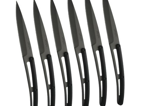 6 Deejo steak knives 'Bistro' titanium finish / black ABS
