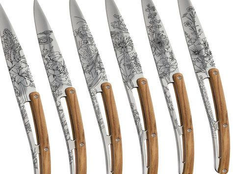 6 Deejo steak knives, mirror finish, olive wood, 'blossom'
